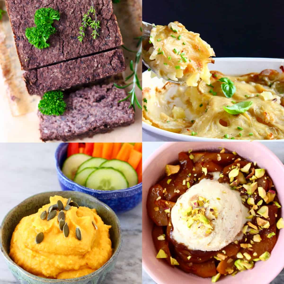 Collage of four budget-friendly vegan Thanksgiving recipes
