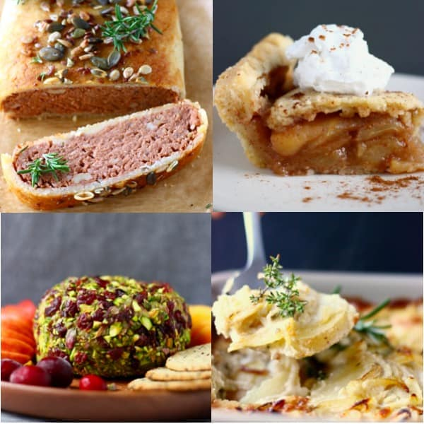 Collage of four impressive vegan Thanksgiving recipes