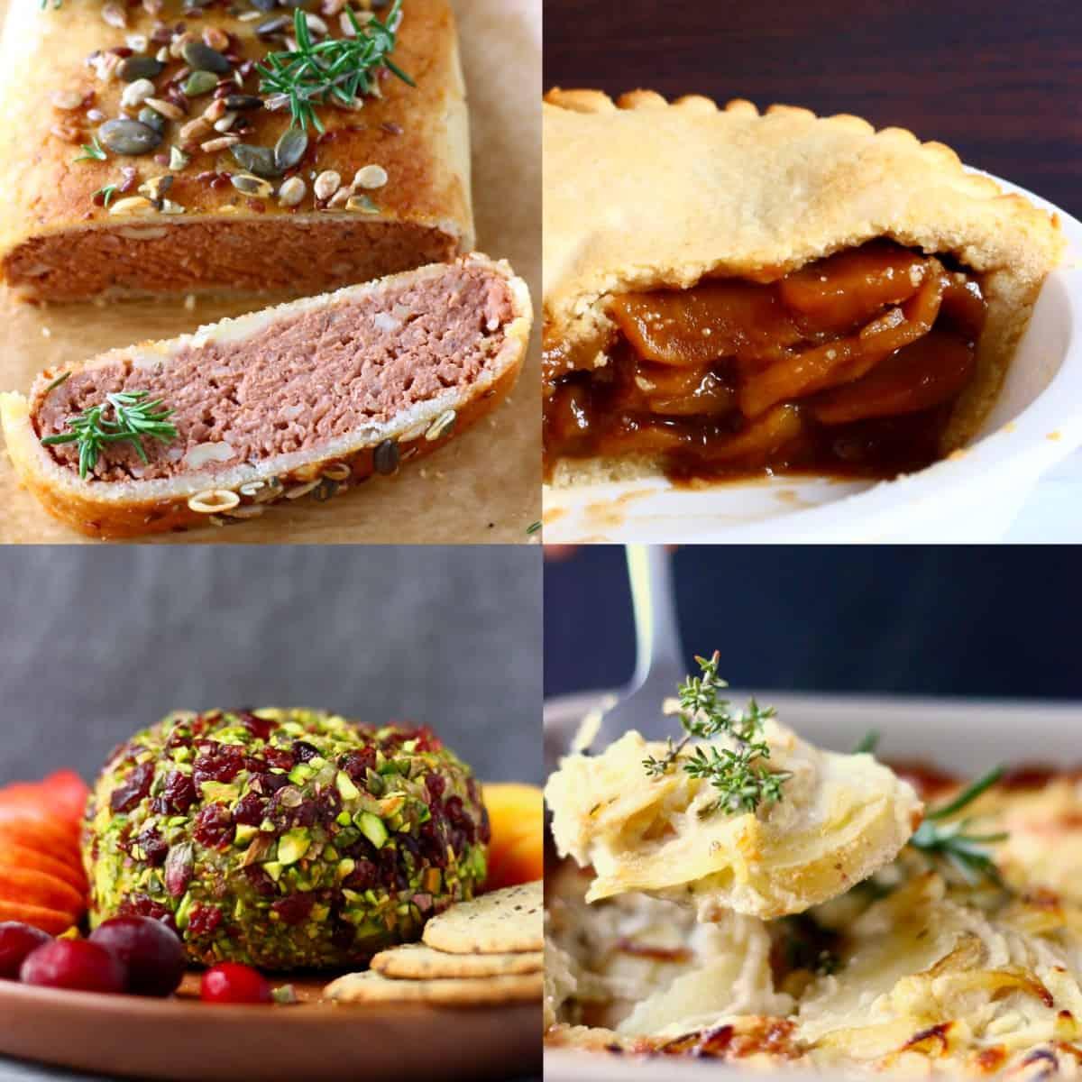 Collage of four impressive vegan Thanksgiving recipes