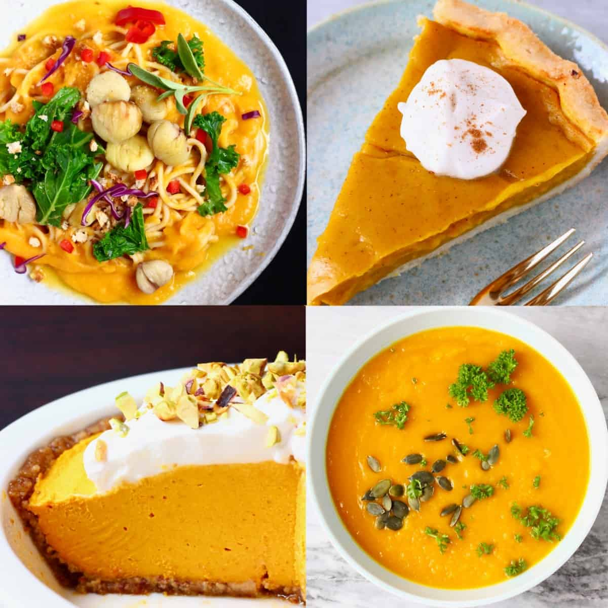 A collage of four pumpkin recipes photos