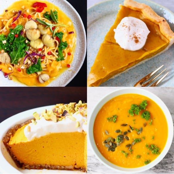 Collage of four vegan pumpkin recipes