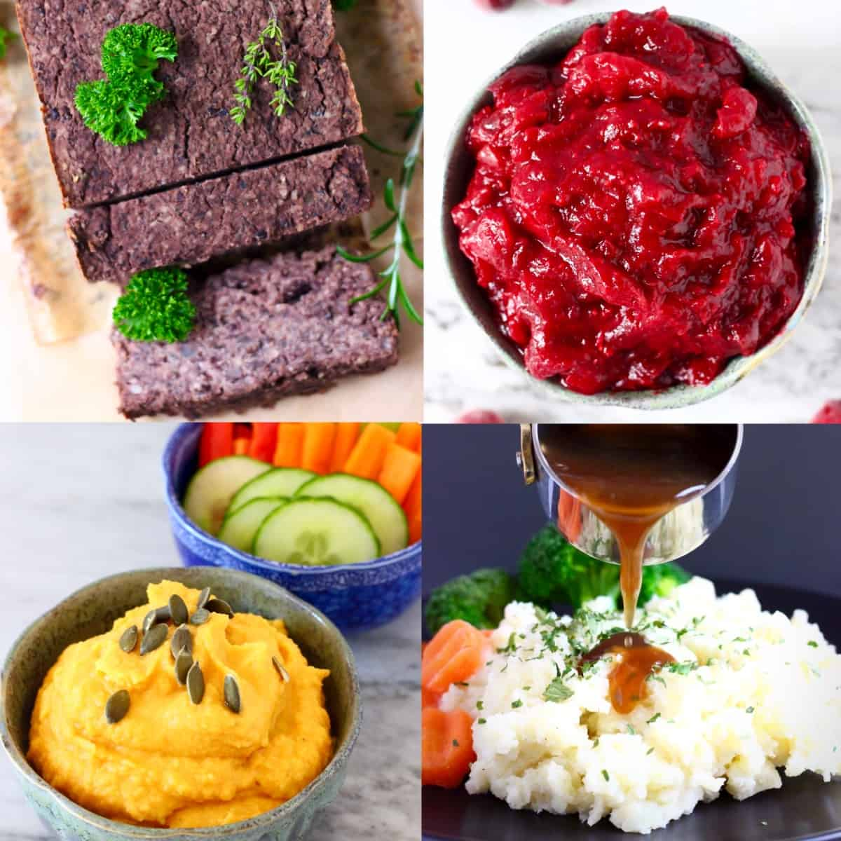 Collage of four easy vegan Thanksgiving recipes