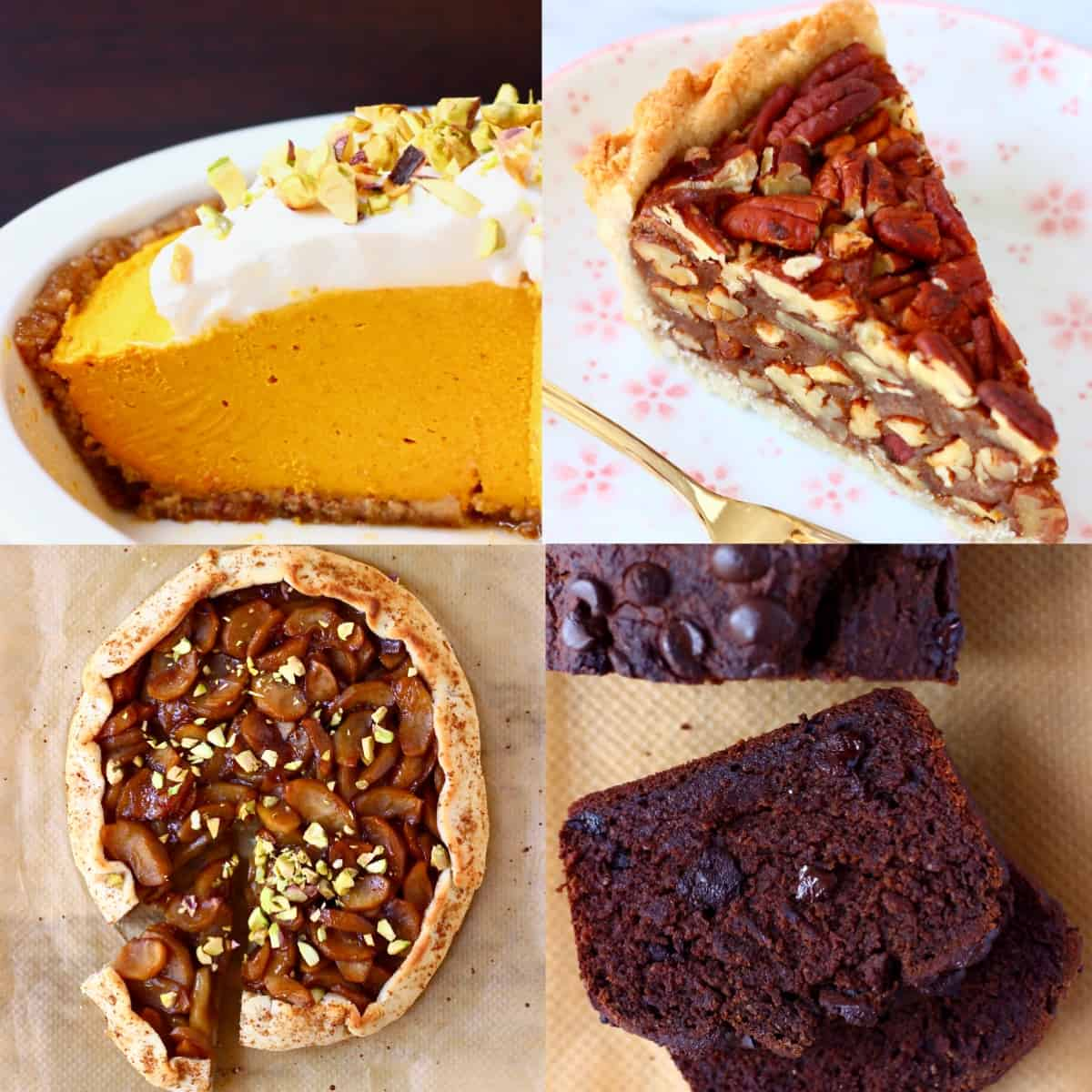 Collage of four Thanksgiving dessert recipes