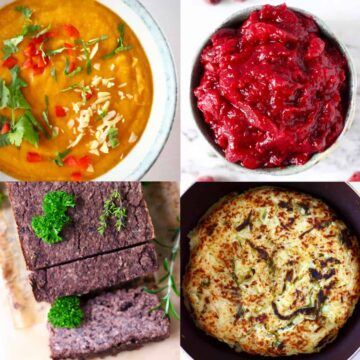 A collage of four vegan Thanksgiving leftovers photos