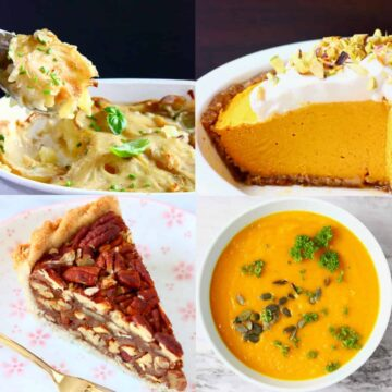 A collage of four vegan Thanksgiving recipes photos
