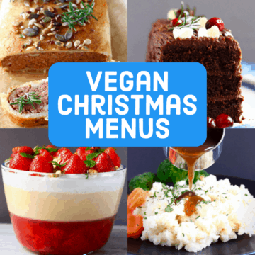 A collage of four Vegan Christmas Dinner Menus photos