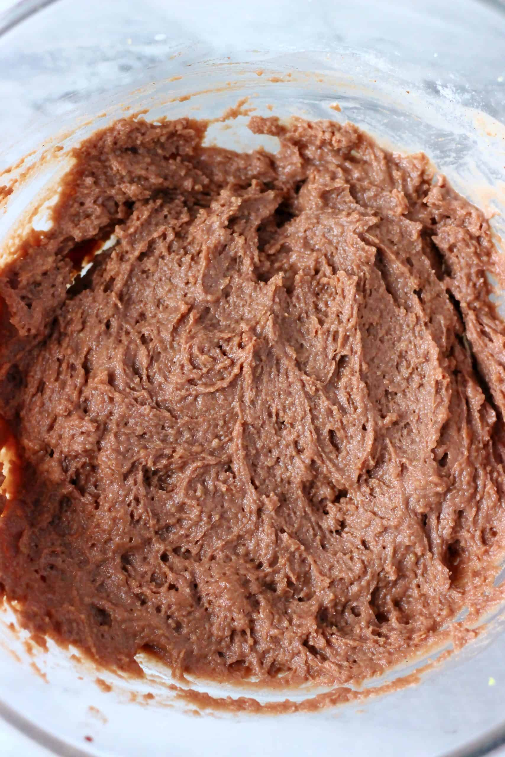Raw gluten-free vegan gingerbread loaf cake batter in a bowl