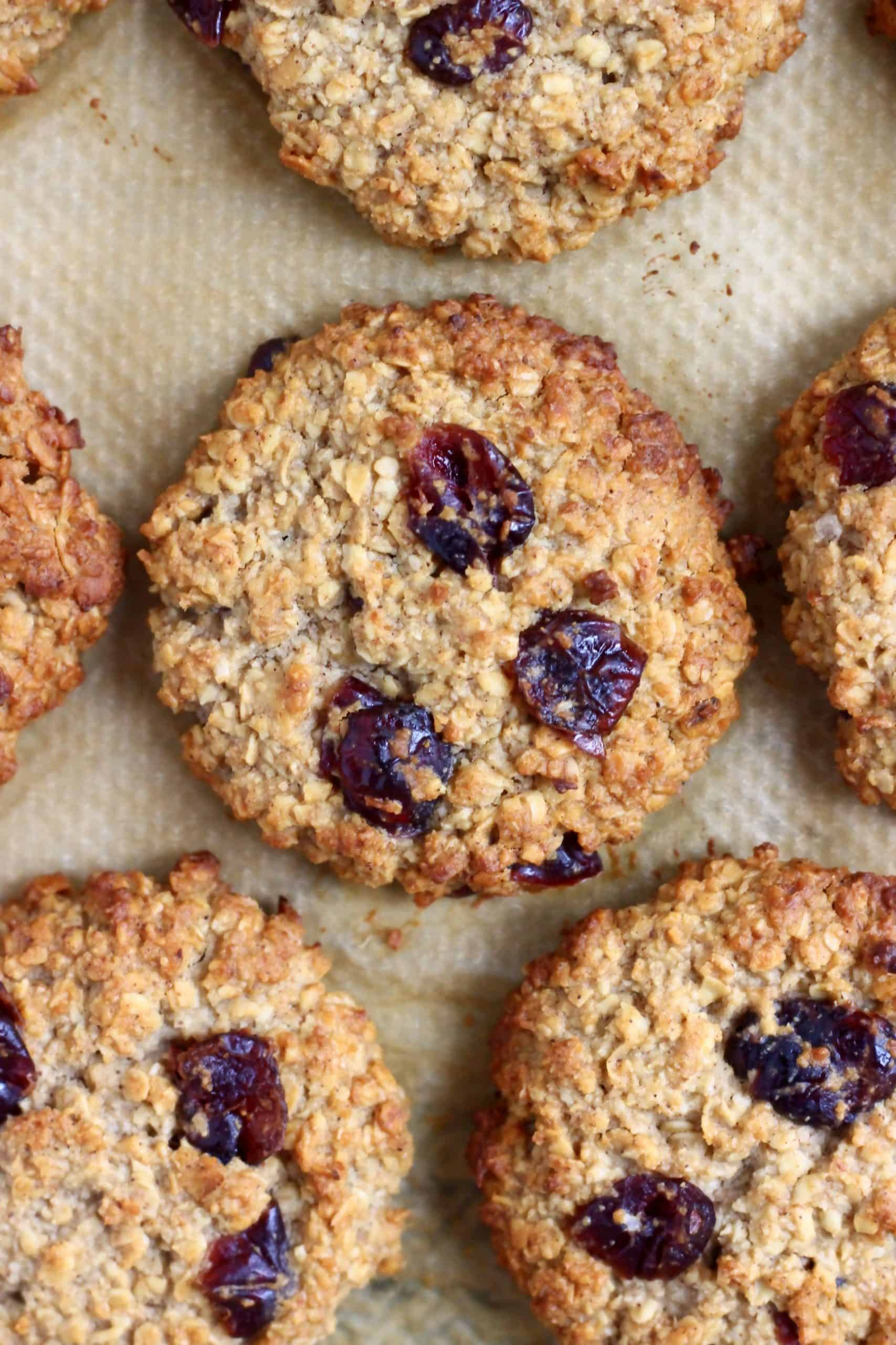 Four oatmeal cookies with dried cranberries