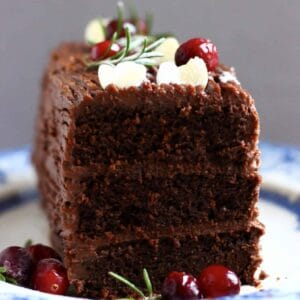 A slice of gluten-free vegan yule log with three layers topped with cranberries