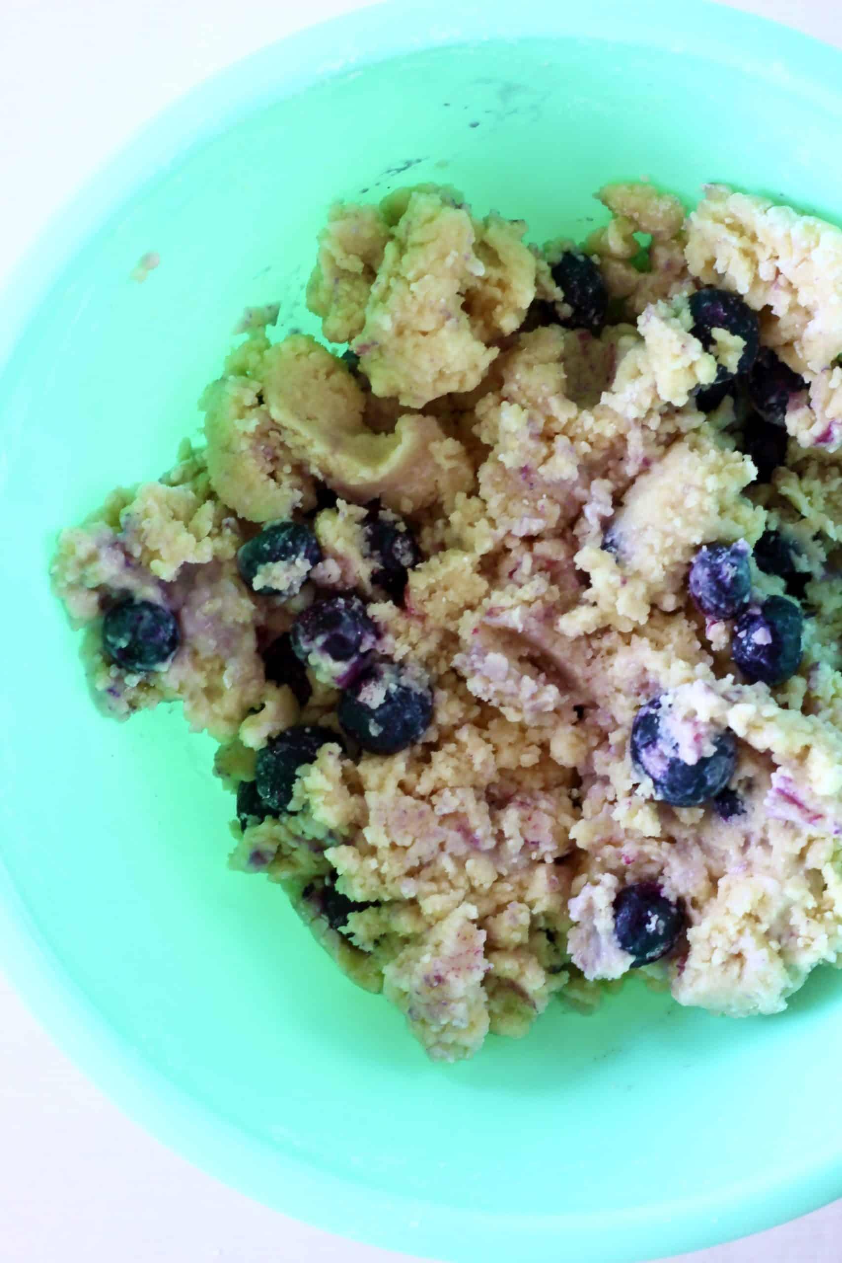 Raw gluten-free vegan lemon blueberry cookie dough in a bowl