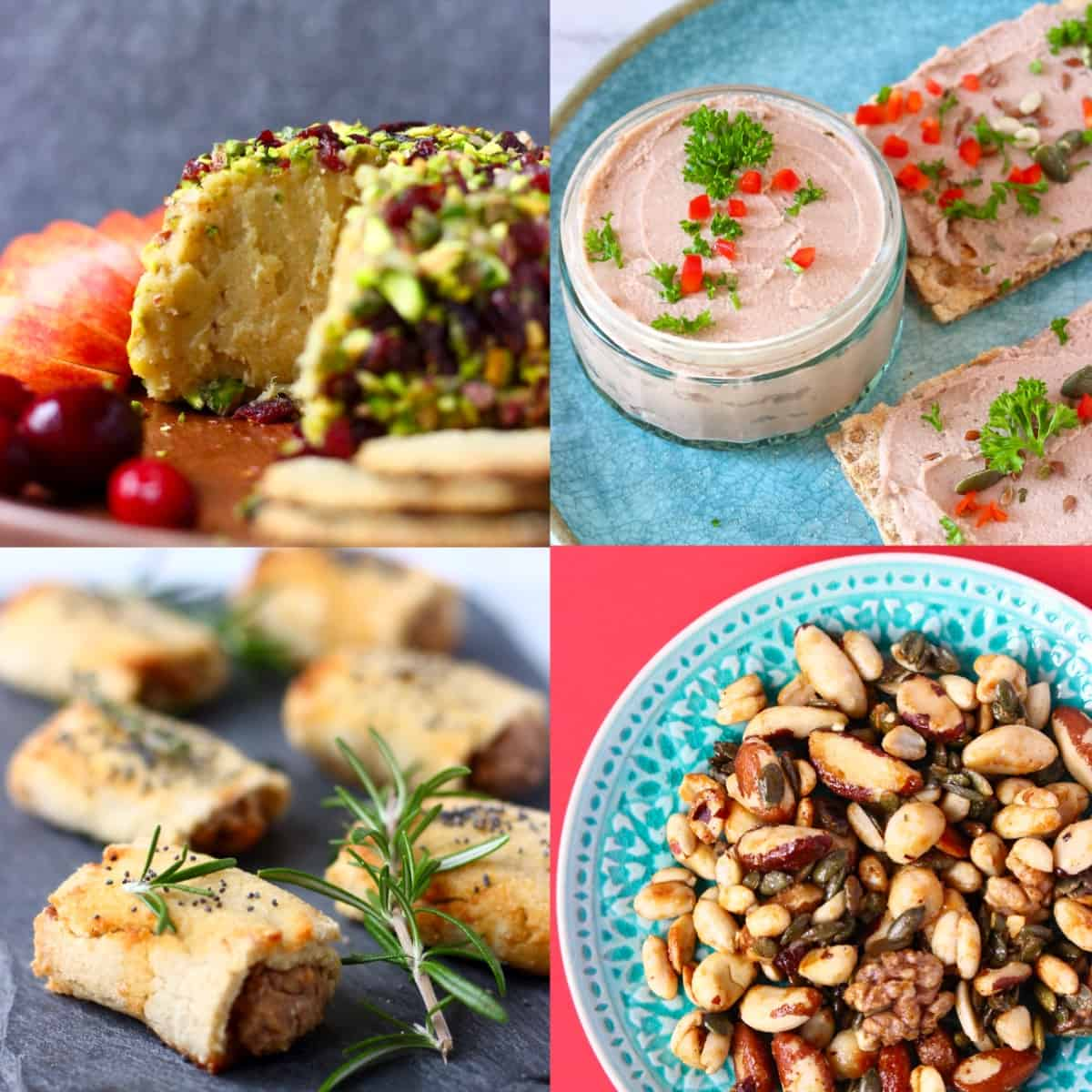 A collage of four appetizer photos for Vegan Christmas Dinner Menus