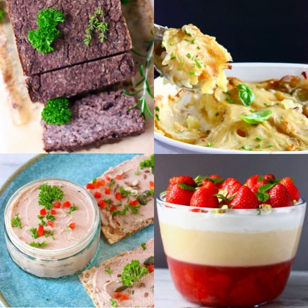 Collage of four budget-friendly vegan Christmas dinner menu dishes