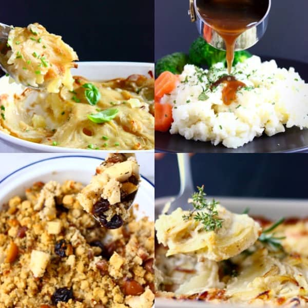 Collage of four vegan side dishes