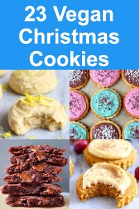 A collage of four gluten-free vegan Christmas cookies