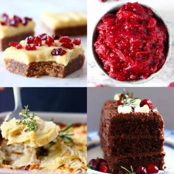 A collage of four Vegan Christmas Recipes photos