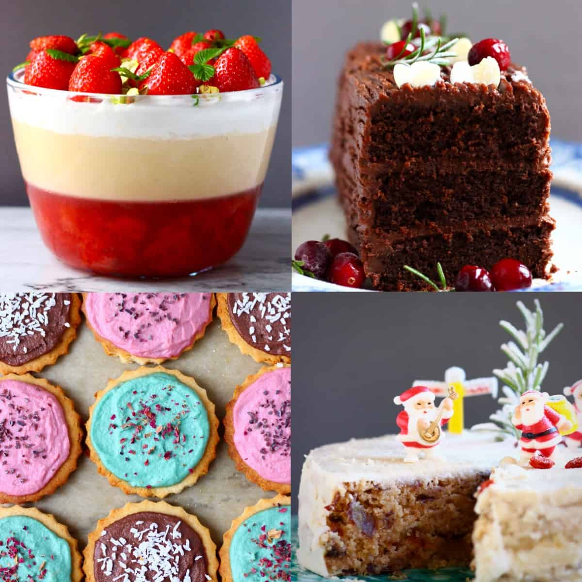 A collage of four dessert photos for Vegan Christmas Dinner Menus