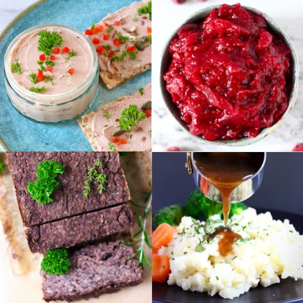 Collage of four easy vegan Christmas dinner menu dishes
