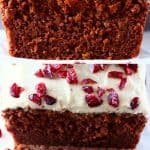 A collage of two Gluten-Free Vegan Gingerbread Loaf Cake photos