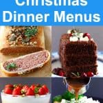 Collage of four vegan Christmas dinner menu dishes