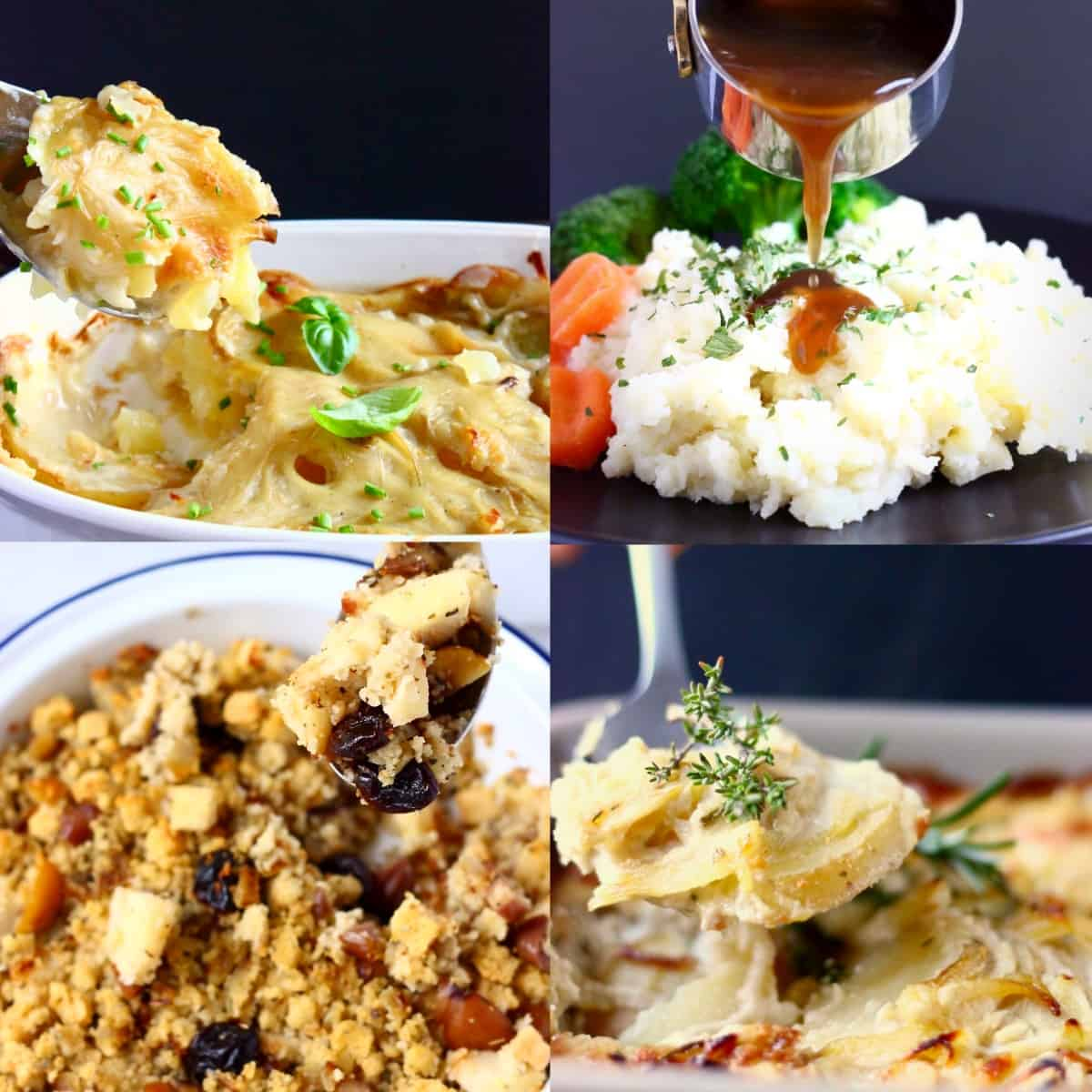 A collage of four side dish photos for Vegan Christmas Dinner Menus