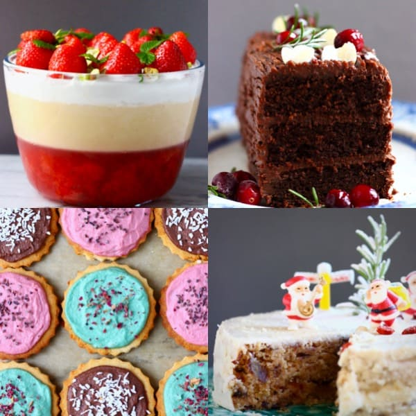Collage of four Christmas desserts