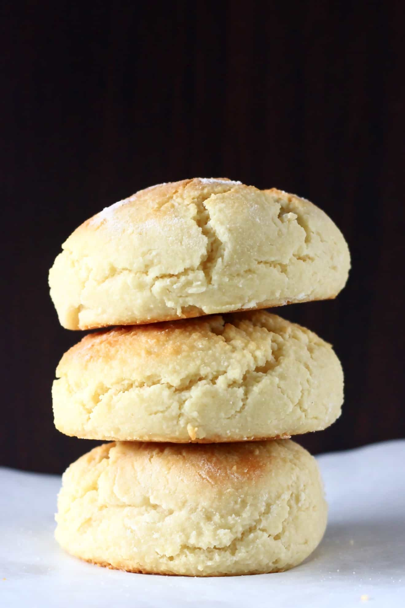 Three biscuits stacked on top of each other
