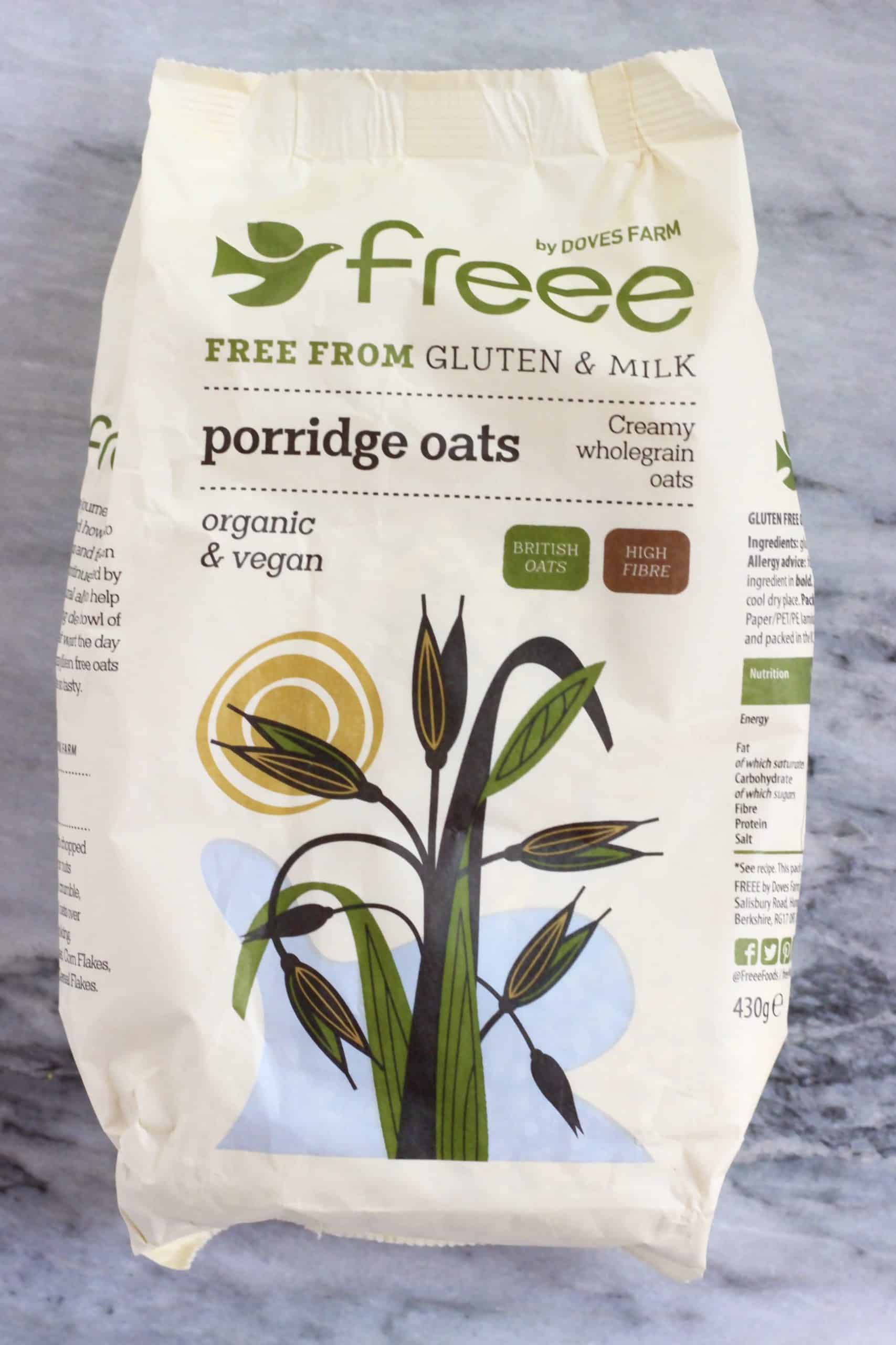 A packet of Dove's Farm FREEE gluten-free porridge oats