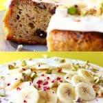 A collage of two Gluten-Free Vegan Banana Cake photos