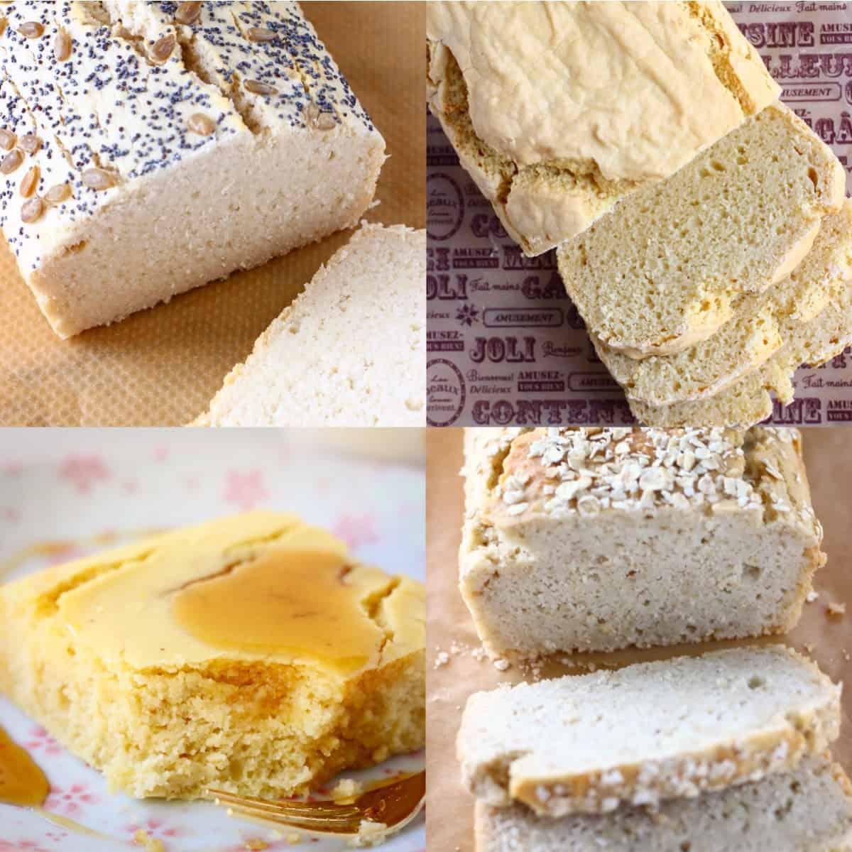 Collage of gluten-free vegan bread recipes
