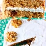 A collage of two vegan carrot cake photos