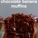 Three chocolate banana muffins one cut in half