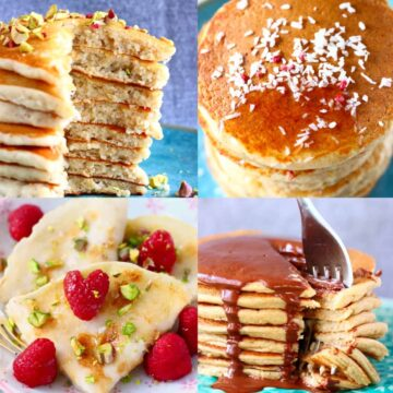 A collage of four gluten-free vegan pancake recipes photos