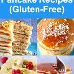 A collage of four gluten-free vegan pancake recipes photos