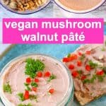 A collage of vegan mushroom pâté photos