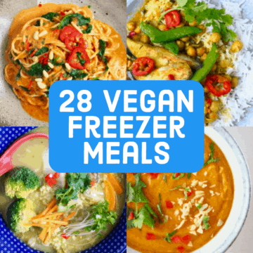 Collage of vegan freezer meals photos