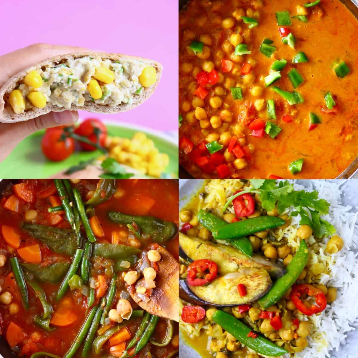 A collage of four vegan chickpea recipes