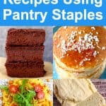 Collage of four vegan recipes using pantry staples
