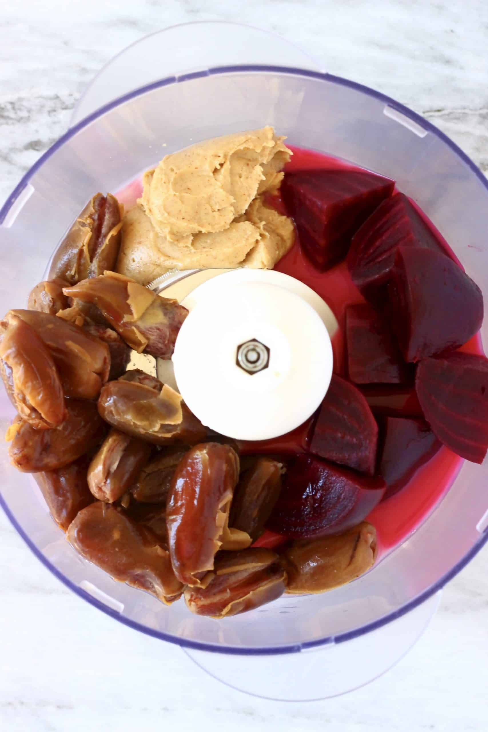 Dates, cooked diced beetroot, almond butter and almond milk in a food processor