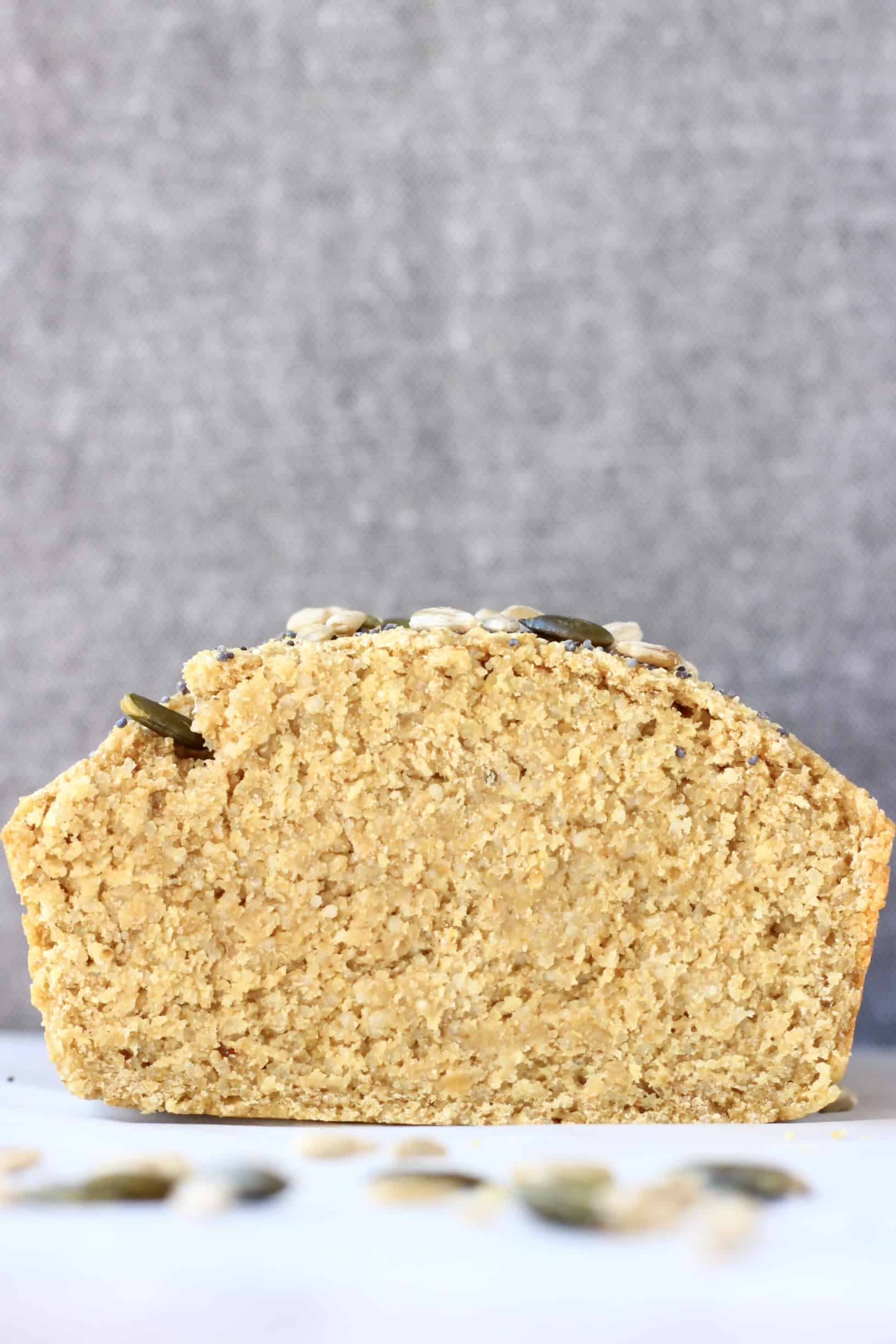 A cross-section of a loaf of quinoa bread