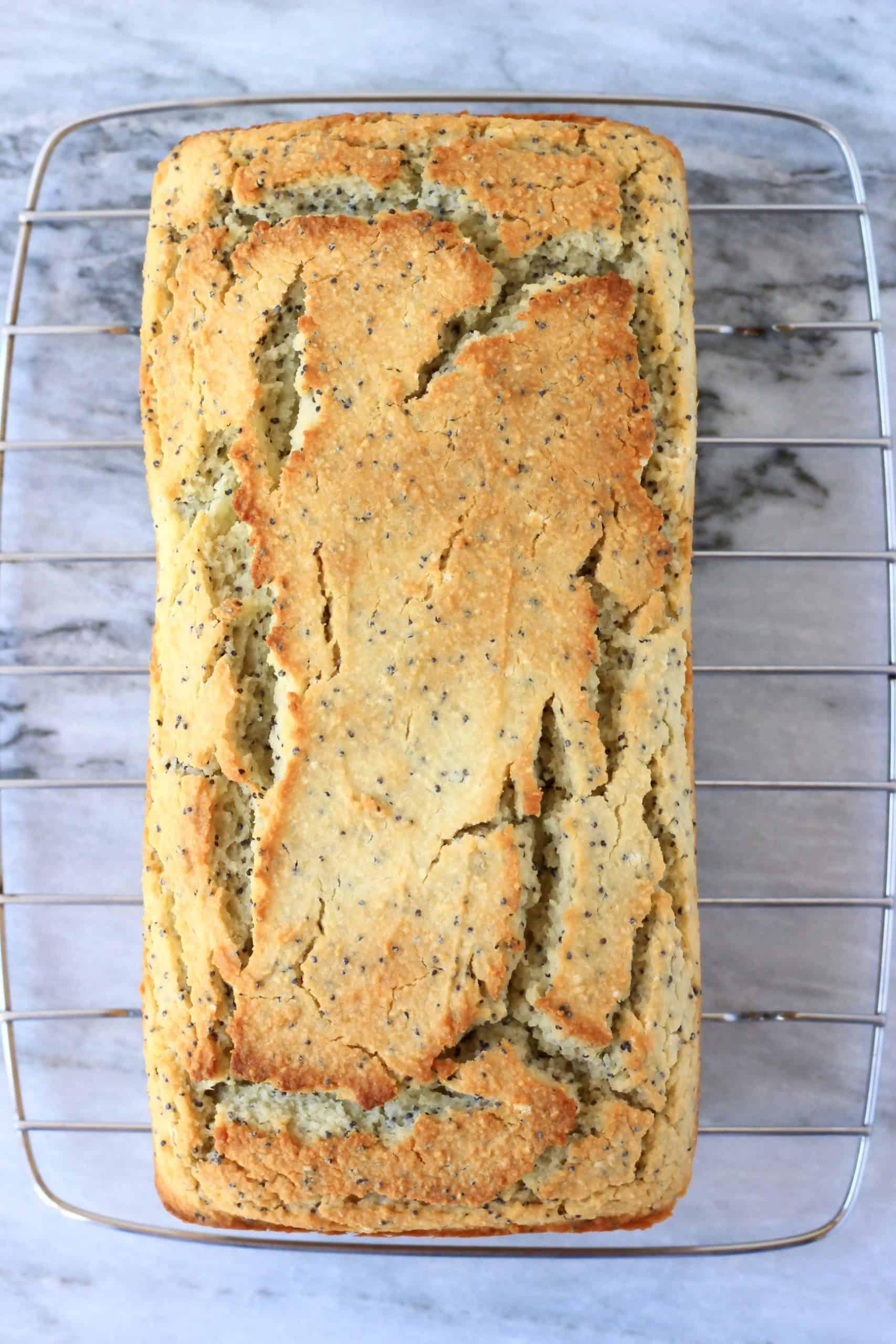 A loaf of gluten-free vegan lemon poppy seed bread on a wire rack