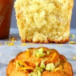 A collage of two photos of gluten-free vegan orange muffins