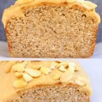 A collage of two gluten-free vegan peanut butter banana bread photos