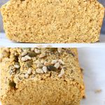 A collage of two quinoa bread photos