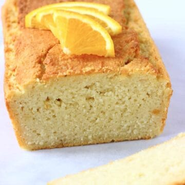 A sliced loaf of gluten-free vegan orange pound cake