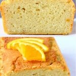 A collage of two gluten-free vegan orange pound cake photos