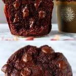 A collage of two gluten-free vegan chocolate zucchini muffin photos