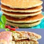 A collage of two quinoa pancakes photos
