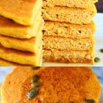A collage of two gluten-free vegan pumpkin pancake photos