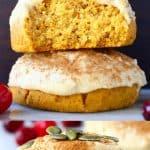A collage of two gluten-free vegan pumpkin cookies photos