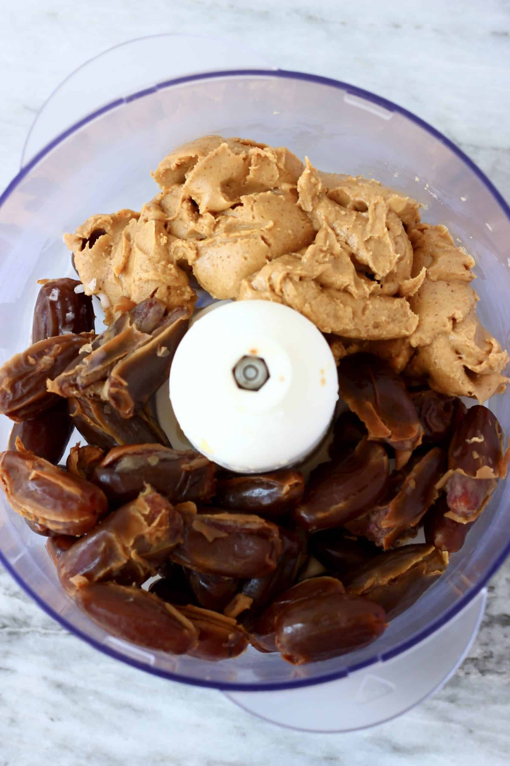 Dates and almond butter in a food processor